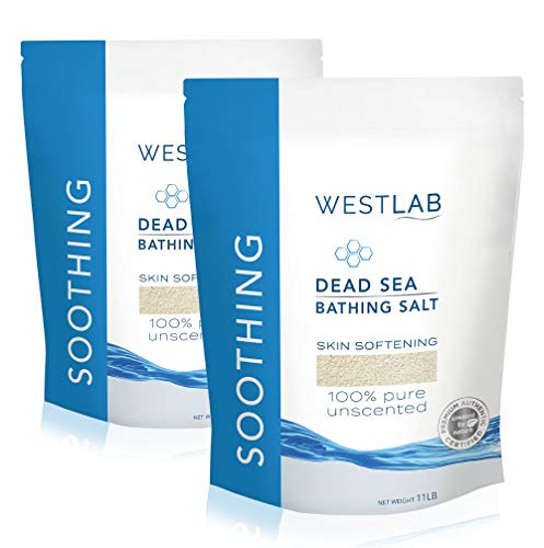 Westlab Pure, Unscented Dead Sea Salts (2 x 11lb resealable bags, 22lb) for all natural treatment of Psoriasis, Eczema, Acne, Dry skin. Relaxes aching muscles. 100% Pure and Certified mineral content. ()