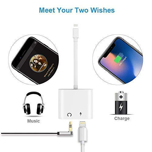 Headphones Adapter for iPhone 8// X//XS MAX//XR// 8 Plus// 7//7 Plus for iPhone Charger 3.5mm Adaptor Jack Dongle Earphone Convertor 2 in 1 Music Charger Cables Charge Audio Support iOS 12