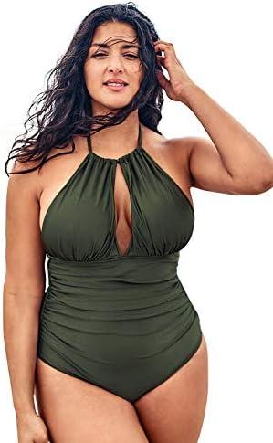 CUPSHE Women's Plus Size One Piece Swimsuit Green Halter Shirring Bikini
