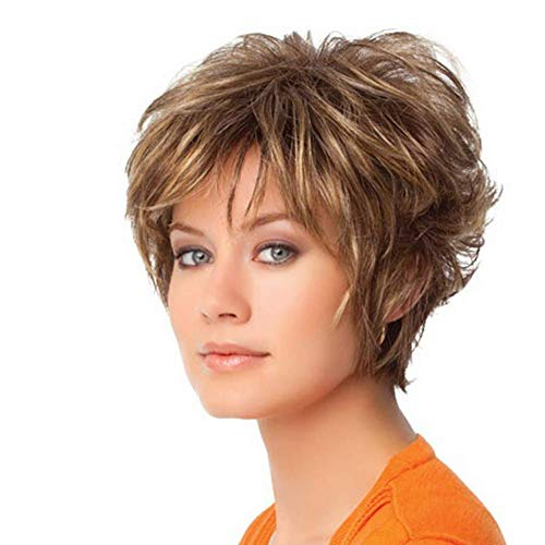 Potelin Premium Quality Wig | Fashion Short Curly Brown Women Hair Wig Dyed Synthetic Lady Cosplay Hairpiece