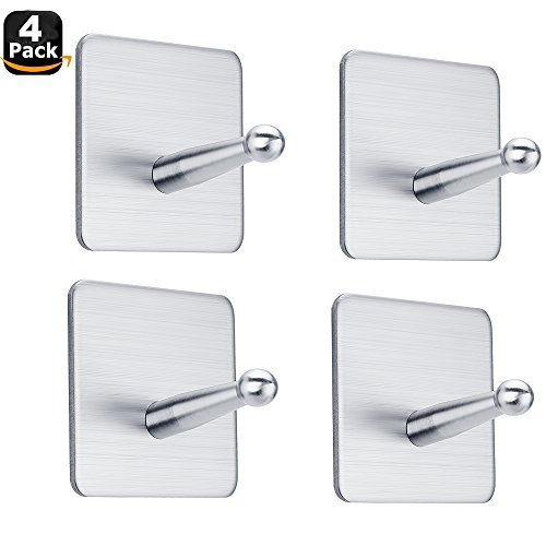 FOTYRIG Wall Hooks, Adhesive Hooks SUS 304 Brushed Stainless Steel Hook Wall Hangers Without Nails for Robes, Coats, Towels, Keys, Bags, Lights, Calendars-Home Bathroom Kitchen Office -4 Packs