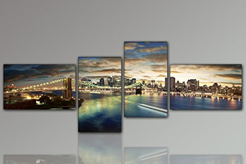 YPY Large Oil Painting Metropolis Night Brooklyn Bridge New York Cityscape Wall Art (A, 25x40cmx4panel)