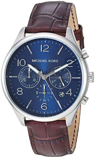 Michael Kors Men's Merrick Stainless Steel Analog-Quartz Watch with Leather Strap, Brown, 22 (Model: MK8636) (Michael Kors Watch Men Leather)