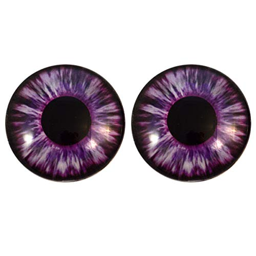 Purple Succubus Demon Glass Eyes Scary Halloween Art Dolls Taxidermy Sculptures or Jewelry Making Cabochons Crafts Matching Set of 2 (25mm) -