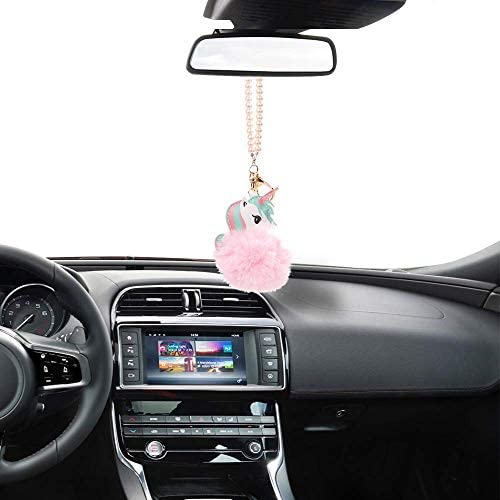 MINI-FACTORY Car Interior Hanging Ornament Luxury Star Crystal Diamond Fairy//Unicorn//Luxury Pearl Star Rearview Mirror Hanging Bling Charm Girly Decoration for Car//Home//Office