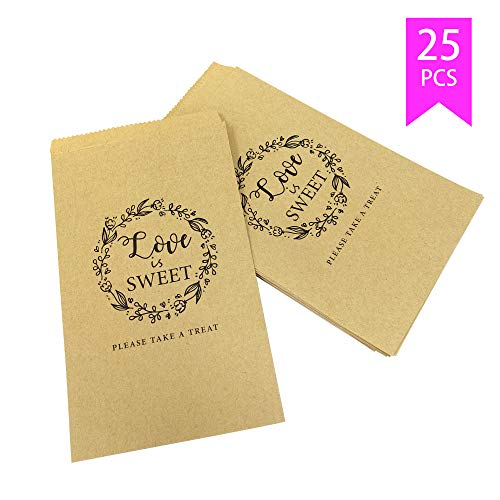 Lucky Party Wedding Candy Buffet Bags – 25 Pcs 4.5 x 7.75 inches Brown Kaft Paper Wedding Favor Rustic Bags Good Treat Snacks Cookie Buffets – Please Take A Treat