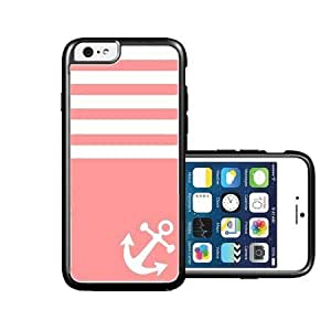 RCGrafix Brand Coral Solid Stripes White Anchor Sailor Sea Life iPhone 6 Case - Fits NEW Apple iPhone 6