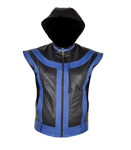 Mens 5 star Black & Blue Real Sheep Leather Vest