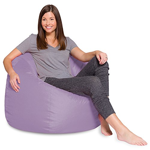 Big Comfy Bean Bag Chair: Posh Large Beanbag Chairs with Removable Cover for Kids, Teens and Adults - Polyester Cloth Puff Sack Lounger Furniture for All Ages - 35 Inch - Heather Lavender