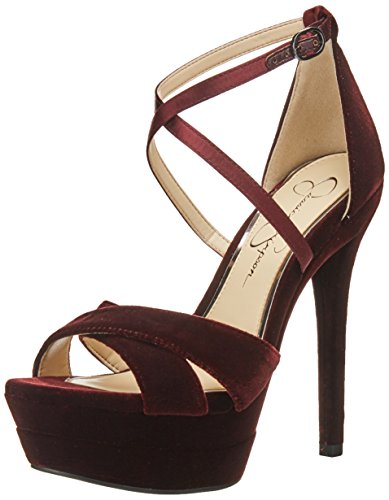 Jessica Simpson Womens Roxelle Tacco Noir Rouge Sandalo