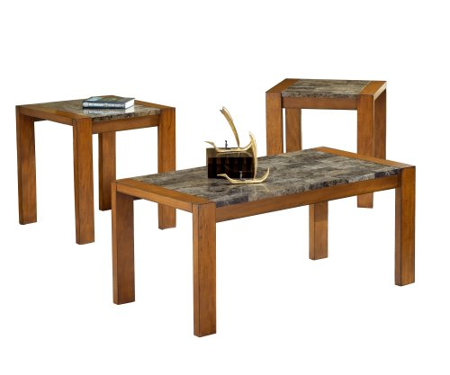 Bernards 3 Piece Cocktail (Bernards Faux Marble Occasional Table, Cherry,)