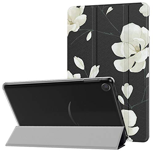 MoKo Case Fits All-New Amazon Fire 7 Tablet (9th Generation, 2019 Release), PU Leather Trifold Stand Cover Frosted Clear Backshell with Auto Wake/Sleep - Black & White Magnolia