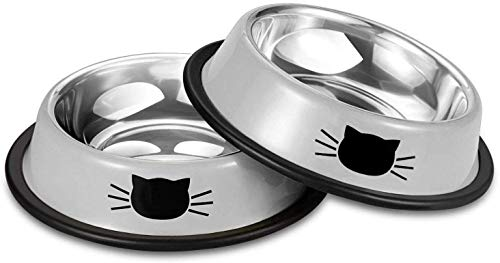 Cat Bowls Stainless Steel Pet Cat Bowl Kitten Rabbit Cat Dish Bowl with Cute Cats Painted cat Food Dish Easy to Clean Durable Cat Dish for Food and Water (Grey/Grey)