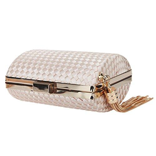 Clutches Weave For Women Bonjanvye Dress Evening Mini Apricot Handbags Tassel vq6wBdt