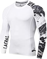 LAFROI Men's Long Sleeve UPF 50+ Baselayer Skins Performance Fit Compression Rash Guard-C