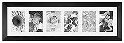 Malden International Designs Berkeley Matted Black Wood Collage Picture Frame, 6 Option, 6-4x6, Black
