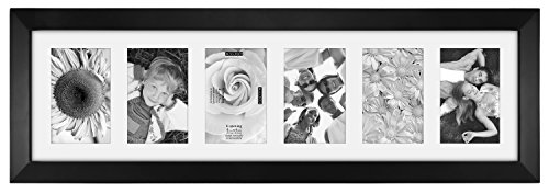 Malden International Designs Berkeley Matted Black Wood Collage Picture Frame, 6 Option, 6-4x6, Black