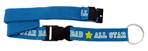 All Star Key Tag - Blue All Star Dad Lanyard With Detachable Silver-Tone Split-Ring Key Chain KEKC77A