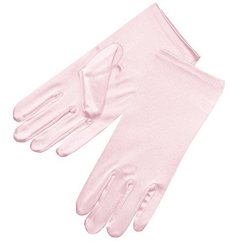 ZaZa Bridal Shiny Stretch Satin Dress Gloves Wrist Length 2BL-Light Pink