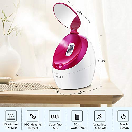 Facial Steamer Nano Ionic Hot Steam For Face Personal Sauna Spa Quality Moisturizing Face Sprayer Open Pores Blackheads Removal Clear Mini Home Humidifier with Makeup Mirror