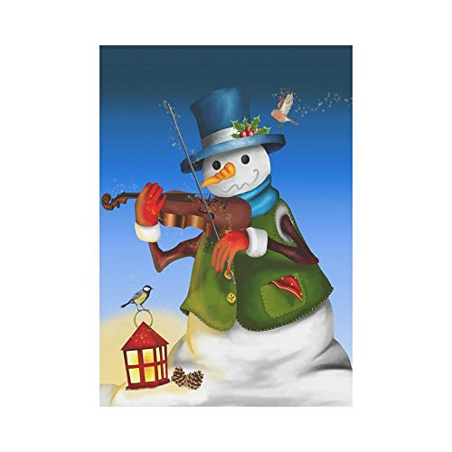 Pingshoes Snowman Play Violin with Birds Polyester Garden Flag Outdoor Banner 28 x 40 inch, Winter Funny Unique Decorative Large House Flags for Party Yard Home Decor