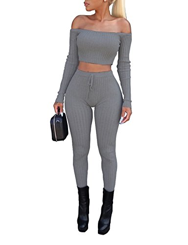(Women's Sexy 2 Pieces Off Shoulder Long Sleeve Crop Top+Long Pant Bodycon Jumpsuit Skinny Romper Grey)