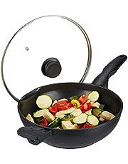 Relaxdays 10031502 wok panna med glaslock 30 cm, handtag, non-stick beläggning, för induktion, gas, elektrisk spis, 4 l, svart, aluminium