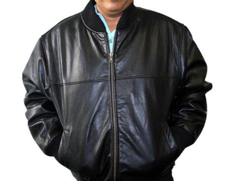 Men's Soft New Zealand Lamb Leather Base Ball Zipper PLUS SIZE JACKET Black