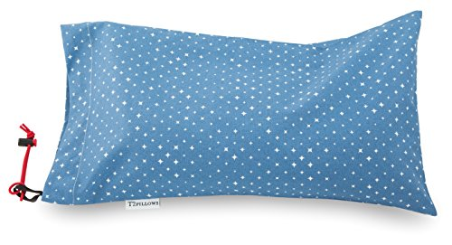 Buckwheat Travel Pillow 100% Organic Cotton (10 x 16) All Natural Hulls with Removable Washable Designer Cover (Blue Star)