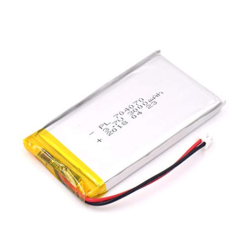 (YDL 3.7V 3000mAh 704070 Lipo battery Rechargeable Lithium Polymer ion Battery Pack with JST Connector)