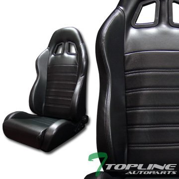 Topline Autopart Sp Sport Black Stitch PVC Leather Reclinable Racing Bucket Seats Sliders L+R T01 (900 Series Quantum Chair compare prices)