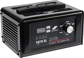 YATO YT-83052 - cargador de batería digital de arranque y salto 12 / 24v 30a