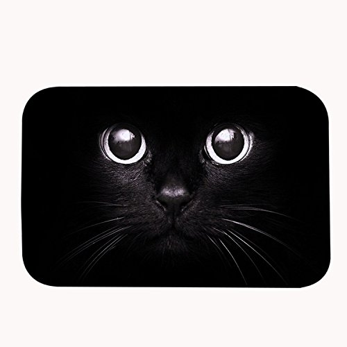 Yilooom Super Soft Non-slip Black Cat Bath Mat Coral Fleece Area Rug Door Mat Entrance Rug Floor Mats for Front Outside Doors Entry Carpet 50 X 80 cm