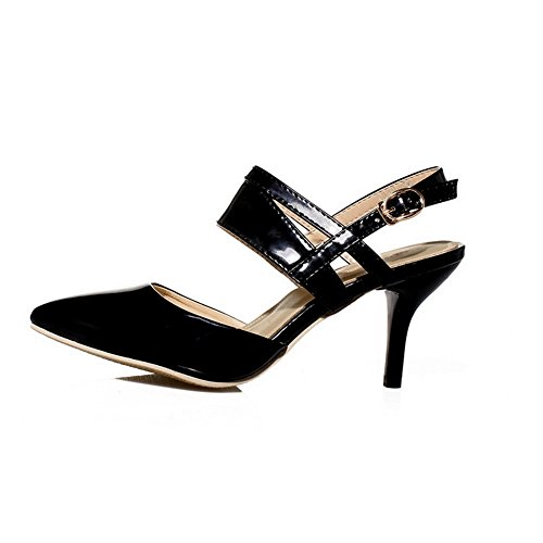 Closed Black Toe PU WeenFashion Sandals Solid Buckle Kitten Heels Women's wBzBXUgq6