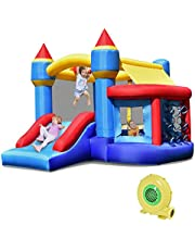 Costzon Inflatable Bounce House, Kids Jump 'n Slide Bouncer w/Basketball Rim, Ball Shooting, Including Oxford Carrying Bag, Repairing Kit, Stakes (with Air Blower)