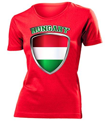 coppa del Mondo - Campionati Europei UNGARN mujer camiseta Tamaño S to XXL varios colores Rojo