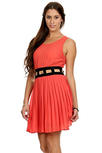 MeshMe Womens roxi - Coral Orange Black Cute Spring Summer Tea Party Cut Out Waist Pleat Sleeveless Tank Top Scoop Neck Modern Boho Grecian Greek Goddess Gown Style Pleated Casual Chiffon Short Dress -