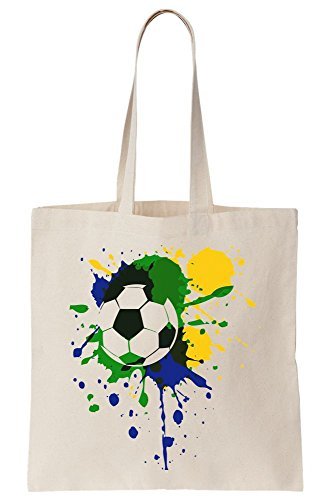 Brasil Tote With Soccer Bag Colors Brasil Canvas Flag Artwork Ball vI1OqwC