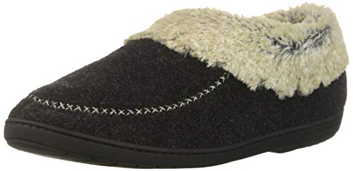 (Dearfoams Women's Felted Faux Wool Bootie Slipper, Black, XL Regular US )