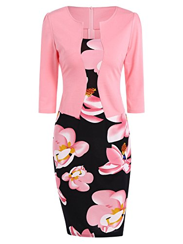 KCatsy Floral Knee Length Pencil Fitted Work Dress -