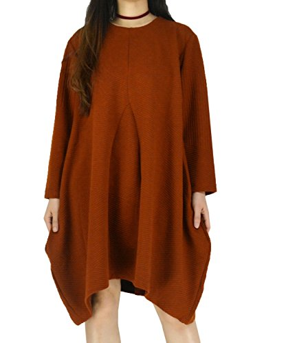 YSJ Women's Oversized Pullover Long Dress Round Neck Long Sleeves Loose Dress (One Size, Brown)