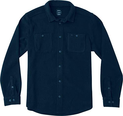 (RVCA Men's Uplift Long Sleeve Fleece Button Front Shirt, Seattle Blue, XXL)