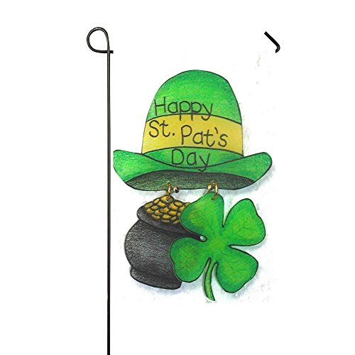 Yellow Gold Dora - Dora's Flag Happy St.Pat's Day Green Yellow Hat With Gold Conis Clover 28x40 Inch Garden Flag - Double Sided Holiday Decorative Outdoor House Flag