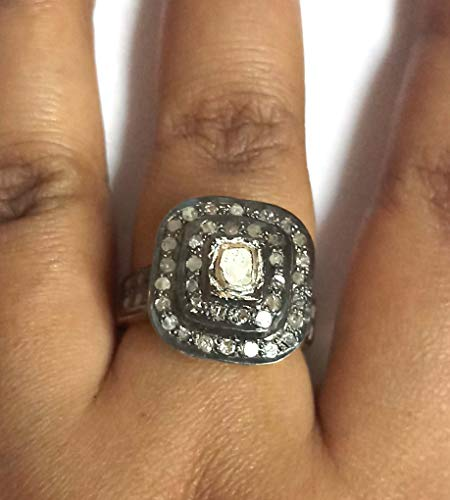 Victorian Ring Polki Pave Diamond 925 Sterling Sliver Jewelry Easter Gift Birthday Gift