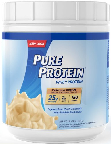 Pure Protein 100% Whey Powder Vanilla Creme New Value Size Package 3 Tubs