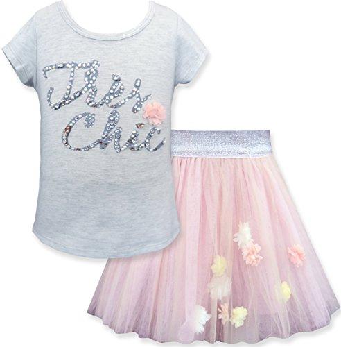 Girls' Embellished Top & Tutu Skirt Set (Many Options), 2-6X & 7-14 (4T, Soft Pink) -