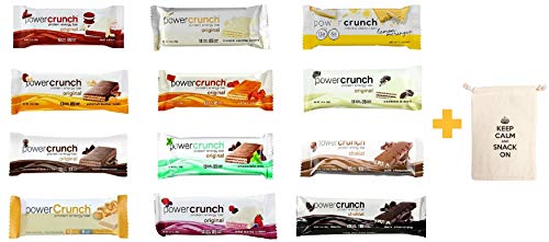 Power Crunch High Protein Energy Snack All Flavors 1.4-Ounce Bars (Pack of 12), 12 Different Flavors Pack of 12 and 1 Organic Snack Pouch