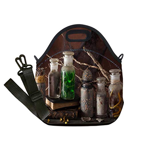 (3D Print Neoprene Reusable Cooler Fashion Lunch Bag witch apothecary jars magic potions halloween decoration Lunch Bag- Insulated and Reusable Artful)
