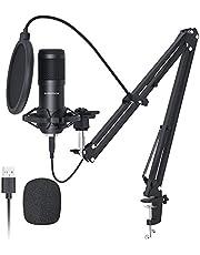Sudotack professionele podcast microfoon 192 kHz / 24 bit studio cardioïde condensatormicrofoon kit met geluidskaart Boom Arm Shock Mount Pop-filter voor Skype, radio, YouTube, Podcasts enz