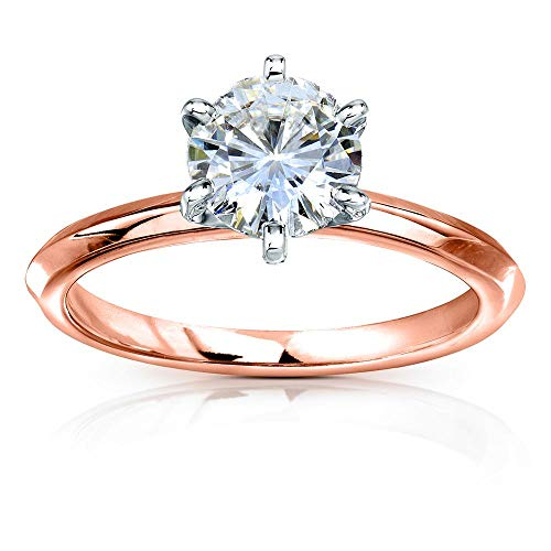 (Classic Solitaire Round Brilliant Moissanite Engagement Ring 1 Carat 14k Rose Gold (HI, VS), 7)